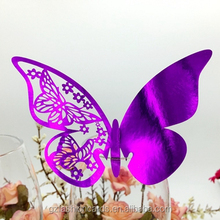 Ideal Products Butterfly Shape Elegant Laser Place Cards for Wine Glass