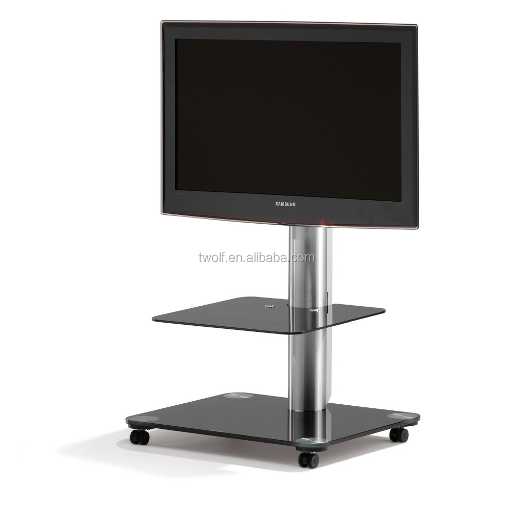 glass tv standing display stand tv table with wheels / casters ZAL008