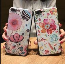 3D custom butterfly Flower simple design UV printing embossed effect phone case tpu silicone Cell Phone Case for iPhone 6