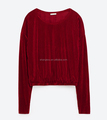 Guangzhou factory price Burgundy Velvet Latest fancy tops girls wholesale