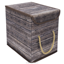Houseware fabric lined collapsible vintage wood color closet storage organizer boxes with burlap handle