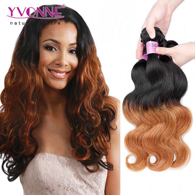 Yvonne ombre light brown weave two tone color remy human hair guangzhou peruvian hair