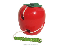 Wholesale Educational Toy Wooden Caterpillar Eating Red Apple