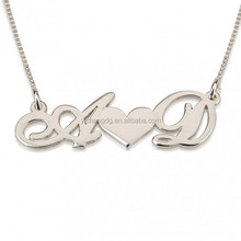 14k White Gold Two Initials with Heart In The Middle, Two Letter with Heart Pendant