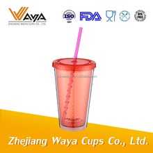 double wall clear plastic mug with straw