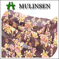 Mulinsen Textile Woven Flowers Printing 100% Polyester Crepe Chiffon Fabric for Women Dress
