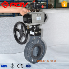 Plastic upvc wafer pneumatic gear operated valve
