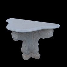Carving process European style antique white marble console table