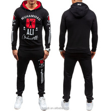 2018 European and American new winter <strong>sports</strong> men's long sleeve print pattern hoodie sweater and pants 2 pcs set