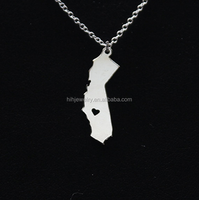 Custom made logo jewelry charms USA California state map pendant necklace jewelry