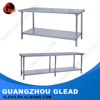 China different types stainless steel work table with top shelf
