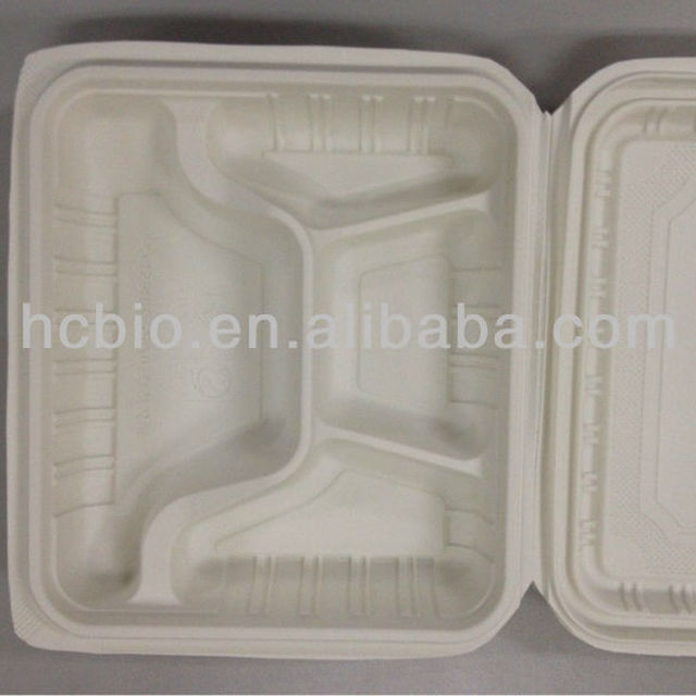 biodegradable lunch box large dinner pack, hinged lid