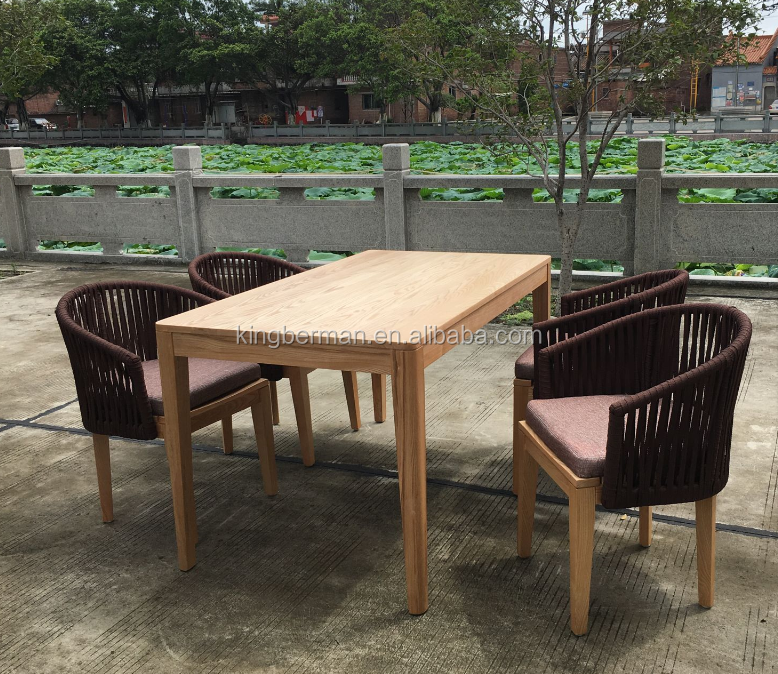 2016 New design Outdoor Furniture Teak Wood Ribbon Rope Outdoor Dining Table and Chairs