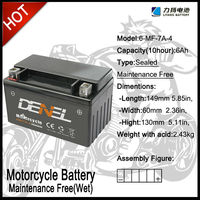 batteries for motorcycle and three wheels car 6--MF-7A Brand Denel and LIYANG