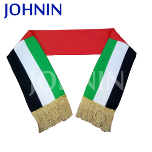 high quality of UAE national day scarf 300D polyester digital printing flag scarf