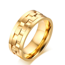 2017 new style Men's Gold Plated Stainless Steel Rotatable Stylish Brick Double Gear Shaped Spinner Rings