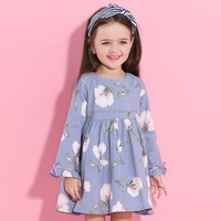 2017 New Autumn Style Long Sleeve Flowers Printing Design Girl Child Dress