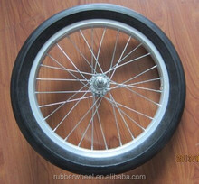 16 inch solid pu foam bicycle aluminum spoke rubber wheel