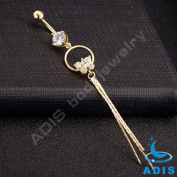 Wholesale dangle belly ring with zircon butterfly shape body jewelry