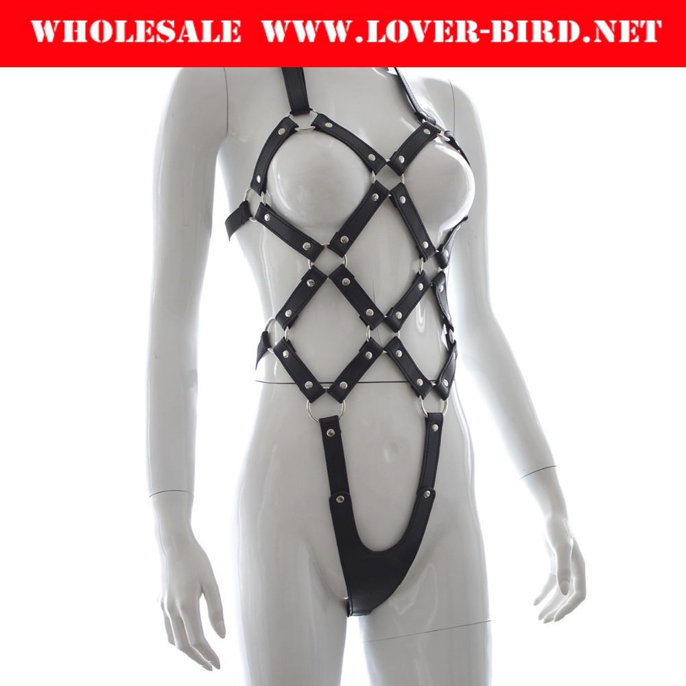 2016 Sexy PU Leather Lingerie Sexy Women's Costume, Flirt Costume Dance Wear Sexy Clothing , Bondage Nipple Bra For Adult Games