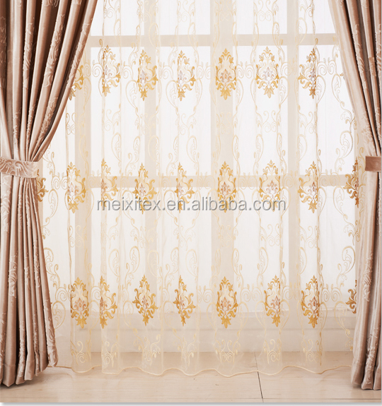 100% Polyester Classic Baroque Curtains/ Organza Embroidery Fabric Curtains
