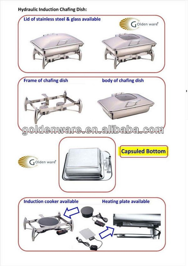 Golden Ware 2017 4L buffet equipment hydraulic chafing dish Made In China