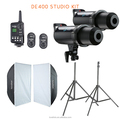 2x Godox DE400 Studio Flash + 60x90cm Softbox + FT-16 Trigger + Light Stand Kit