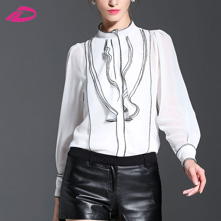 2017 New Fashion Women Full Stand Black White Size S-XL Slim Autumn Body Casual top silk top and blouses