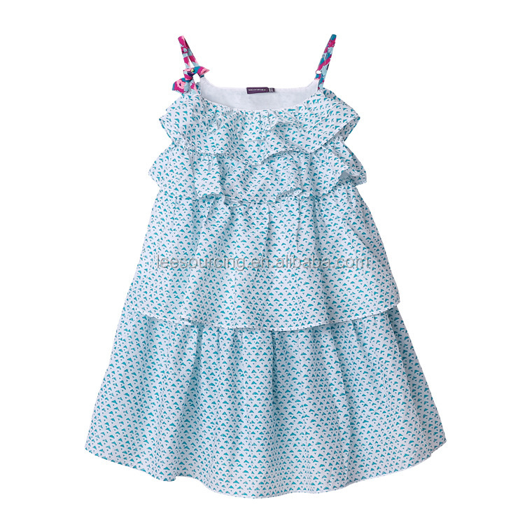 Baby girls layered vest princess dresses kid tiered fancy cotton frock girl dress