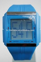 BF3390 Men watch plastic sport Digital LCD Rolling slogan Promotional vertical Watch