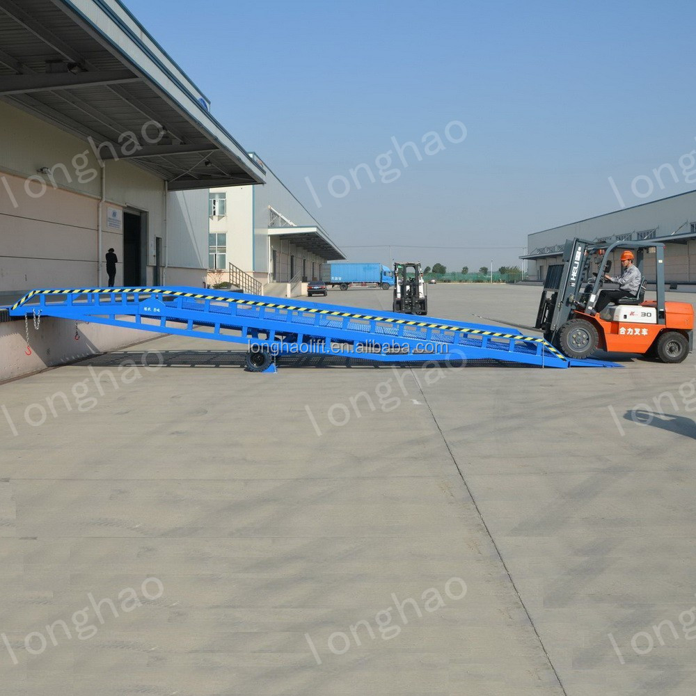 Longhao 12ton china mobile hydraulic yard ramp for sale best material handling equipment