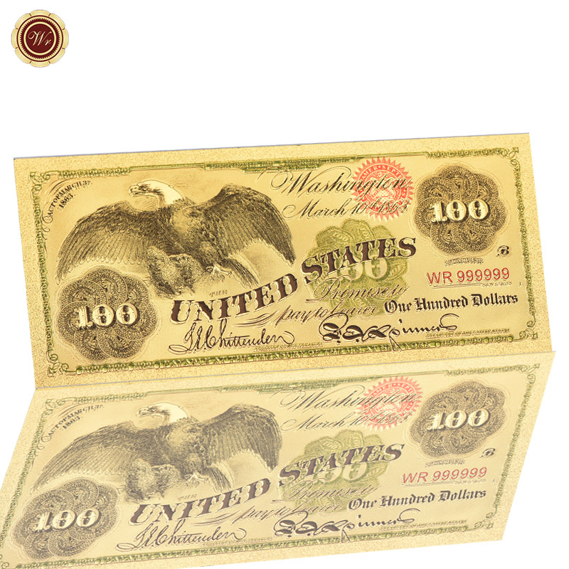 Colored Banknote One Hundred Dollars Colorful Gold Banknote 999999 24K Gold Worth Collection