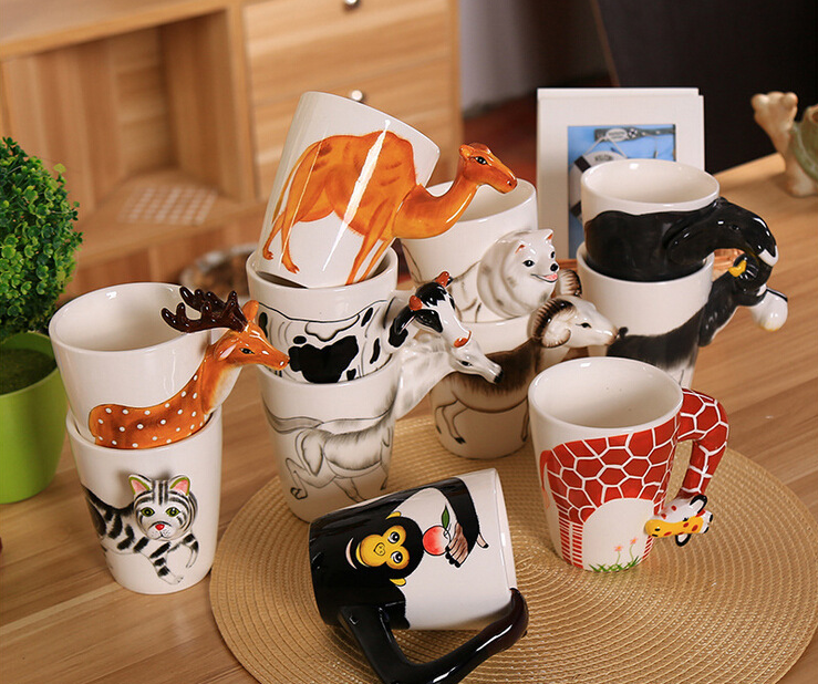 Decorative 3D Animal Design Ceramic Coffee Mugs/Animal Novelty Tea Cups