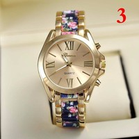 Hot Selling Metal Rose Watch Flower Geneva Wristwatches 2015 Brand Vintage Women's Alloy Fashion Dress Quartz Watch