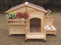 new European style wooden pet house pet cages dog house with balcony