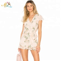 Summer new fashion floral short sleeve adult romper pattern for women