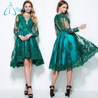 A-Line Bateau Long Sleeve Tulle Satin Plus Size Prom Dress Patterns