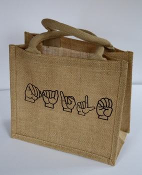 Customized promotional jute tote shopping bag