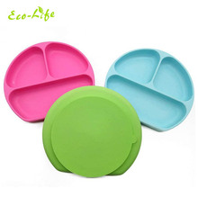 Non-slip microwave oven safe suction food placemat silicone baby <strong>plate</strong>