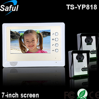 Saful TS-YP818 2V1 home intercom system including 7-inch TFT LCD interphone with 2 outdoor rainproof camera