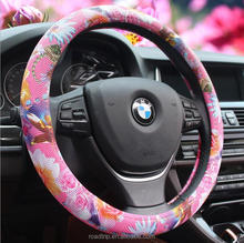 Unique Design Car Accessories Printing Flower Anime Car Steering Wheel Cover For Girl