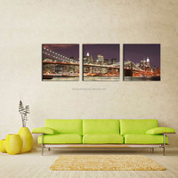 LK372 3 Panel Brooklyn Bridge And Manhattan Skyline At Night New York City Glance At Night Print On Canvas Giclee Artwork For Ho