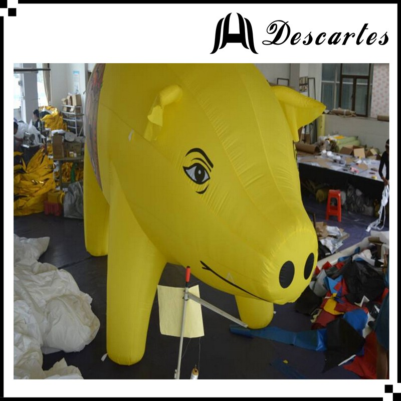 Custom inflatable yellow swine, 3m height large advertising inflatable pig for sale