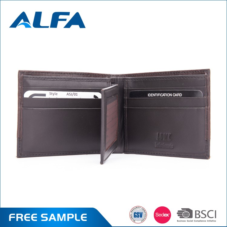 Alfa Promotional Private Label New Design Stylish American Mens Genuine Wallets