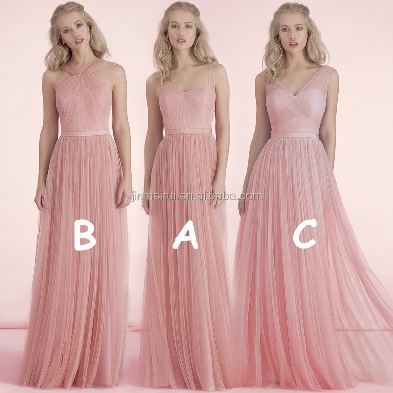 2016 Cheap Formal 3 Styles Long Nude Pink Blush Bridesmaid Dresses Wedding Party Dress Maid of Honor Dress BD245