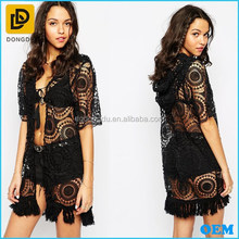 Latest open front design sexy sheer mesh tops crochet kimono with hood 2015