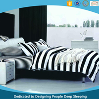 China 120GSM Polyester Bedding Modern Fashion Black White Stripes Bed Sheet Set Queen King Size