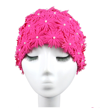 floral petal swim cap Beautiful pattern swimming caps women bathing cap