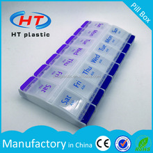 HTDP232HT Factory Hot Sales For Promotion 7day weekly pill organizer box/14 compartments plastic pill box