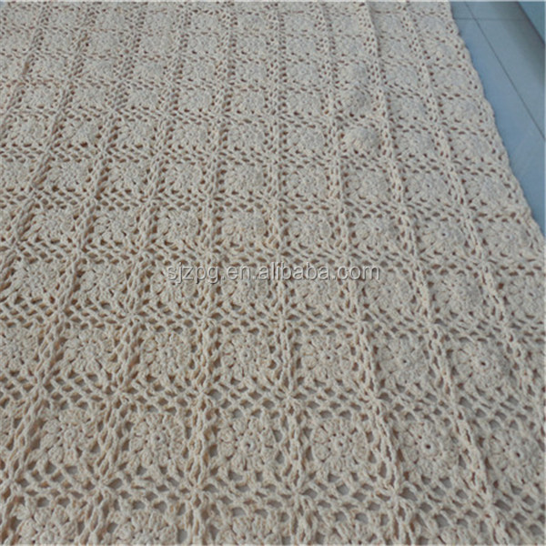 factory wholesale hand made crochet cotton bed throw